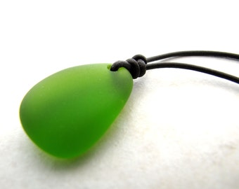 Sea Glass Necklace, Seaglass Necklace, Green Seaglass, Unisex Necklace, Mens Necklace, Mans Necklace, Leather Necklace, Beach Jewelry