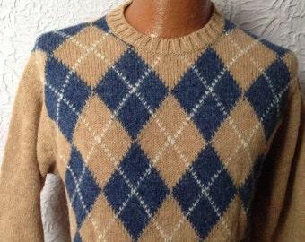 70's Vintage Men's Pringle Shetland Wool Argyle Sweater large