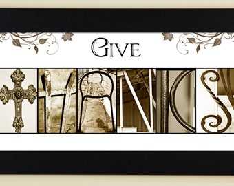 Thanksgiving Alphabet Photography Letter Photos - Give Thanks - framed 5x12