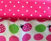 Pink Polka Dot and Lady Bug Stroller Blanket - Personalization Available