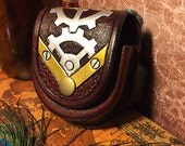 Leather Pocket Watch Case - Steampunk Gears  - MADE TO ORDER - Steampunk Dieselpunk Handcrafted