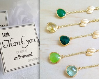 Green gold lead Bridesmaid necklace green jewelry necklace Lariat necklace Y necklace woodland wedding Nature inspired