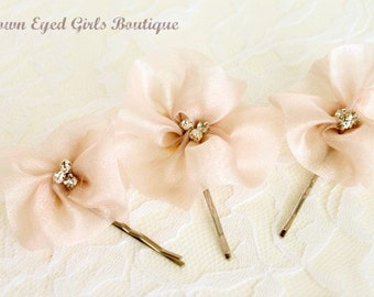 Blush Organza Bridal Hair Pin Trio