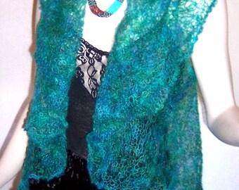 Knitting Pattern Lacy Medallion Wrap in Kool Kid fine mohair