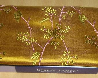 Silk Eye Pillow, Lavender Eucalyptus Flax // Natural Herbal HEADACHE Remedy // Golden Vine Silk Brocade