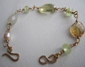 Semi Precious Gemstone Gold Filled Wire Wrapped Artisan Made Bracelet