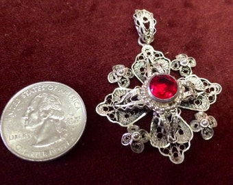 Ornate Filigree Jerusalem cross pendant with synthetic ruby