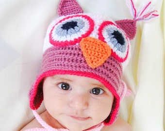 Crochet baby hat,  baby owl hat, hat with earflaps, crocheted winter hat, READY TO SHIP