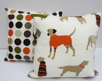 Set of Dog Themed Decorative Pillow Covers, 16 x 16 Inch Orange and Brown Dogs Cushion Covers backed with Bright Retro Circles Fabric