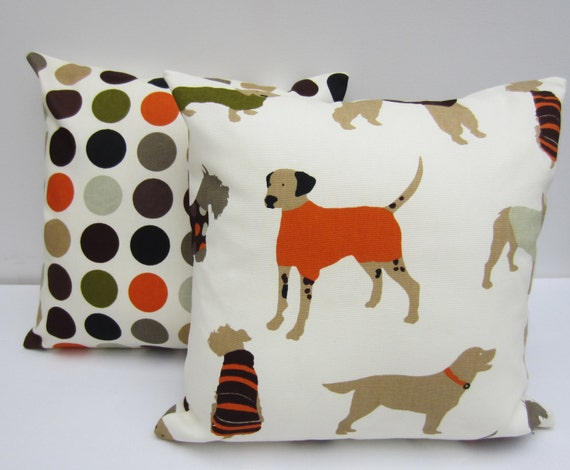 Set of Dog Themed Decorative Pillow Covers 16 x 16 Inch