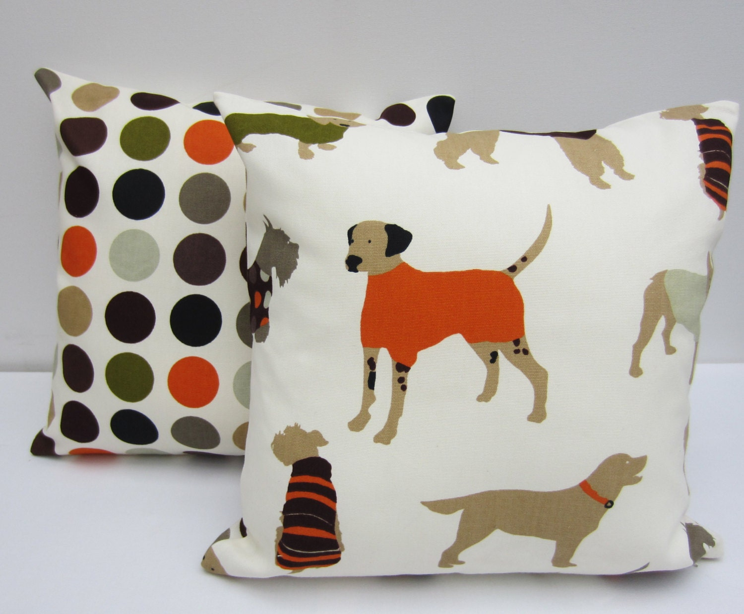 Decorative Pillows Dog : Set of Dog Themed Decorative Pillow Covers 16 x 16 Inch