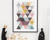 Retro wall art, Triangle art, Mid century print, Nordic design, minimalist poster,  Home decor, Geometric print, Watercolor art, multi color