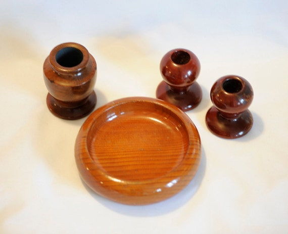 4 Pieces Mid Century California Redwood.. Vase, Bowl & Candlesticks.. Hand Turned Wood.. Rustic  Cabin Décor