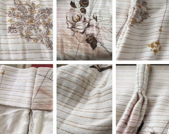 4 Vintage Mid Century Pinch Pleat Curtains Gold & Floral NICE!!