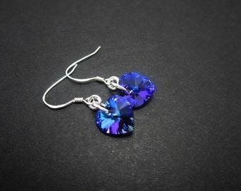 Swarovski Heart Elements Earrings Sterling Silver Purple Blue Beautiful Heliotrope Crystal Earring 347