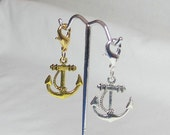 Gold Anchor Charm, Silver Anchor Charm, Lobster Clasp, Phone Charm Zipper Pull Cell Lanyard