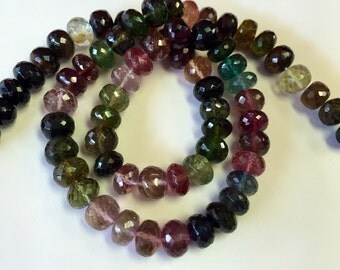 Tourmaline Faceted Rondelles-8mm