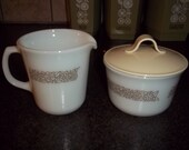 Vintage Woodland Creamer and Sugar with Lid in Excellent Condition