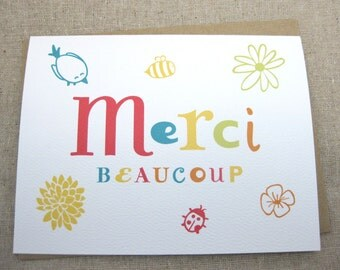 Sale, Cute, French,Thank you note, Merci, Bird, Ladybug, Flowers, Whimsical Notecards - Single