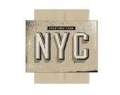 Greetings from NYC Block Type, A6 Screenprinted Blank Greeting Card
