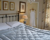 NEW Downton Abbey Inspired Ice Blue Dupion Silk King Size Buttoned Feather Eiderdown Quilt Comforter