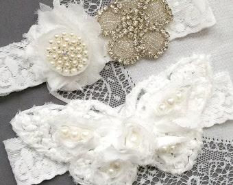 Wedding Garter Belt Set Bridal Garter Set Butterfly White Lace Garter Belt Lace Garter Set Rhinestone Crystal Garter GR154LX