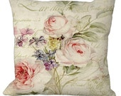 Romantic Chic & Shabby Rose Floral on a French Letter Choice of 14x14 16x16 18x18 20x20 22x22 24x24 26x26 inch Pillow Cover