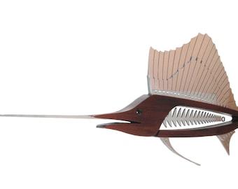 "Sailfish Sculpture in Wood and Metal 72"""