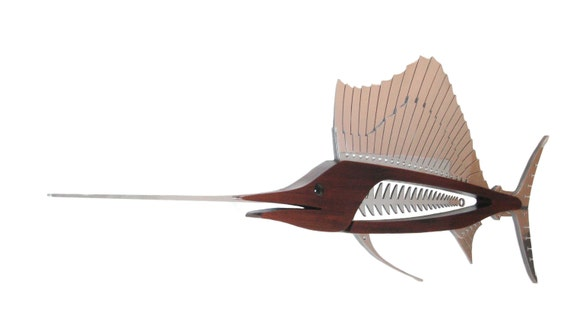 Sailfish Sculpture in Wood and Metal 72""