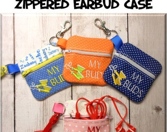 In The Hoop Zippered Earbud Case Embroidery Machine Design