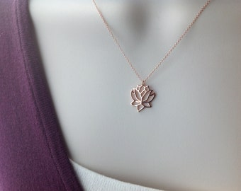 Rose gold necklace, flower, yoga jewelry, minimalist jewelry, charm necklace, everyday jewelry N186