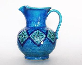 Vintage  Large Blue Flavia Montelupo Italy Vase Jug - Bitossi