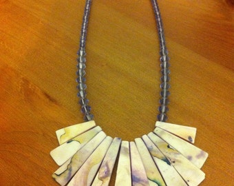 Hand made Purple Shell Necklace w/ Swarovski crystals