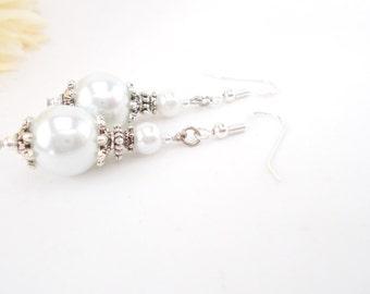 Bridal Earrings, White Wedding Earrings, Pearl Drop Earrings, Clip Ons, Brides Jewelry, Dangle Earrings, Handmade Earrings, Hypoallergenic