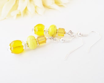 Dark Yellow Earrings, Gift for Her, Wife Gift, Girlfriend Gift, Glass Beaded Earrings, Clip On Earrings, Bridesmaids Jewelry, Stone Earrings