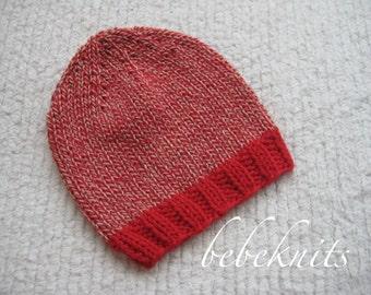 Hand Knit Red Tweed Soft Cotton Newborn Baby Hat