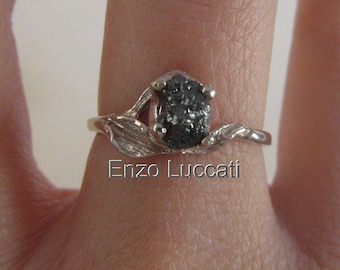 14 k white gold-Bright rose-Unconventional-Mounted-black- raw rough diamond - solitaire-promise-hand hammered