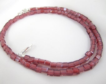 Shop CLOSING SALE, Light Rose and Cinnamon Cube Bead Necklace for Interchangeable Multi Strand Collection, multi wear, small bead