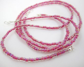 Shop Closing Sale, Strawberry Lined Crystal Seed Bead Necklace for Interchangeable Multi Strand Collection