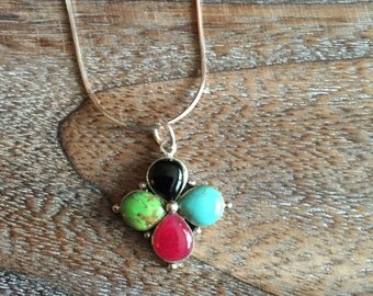 Multi Gemstone cross Necklace