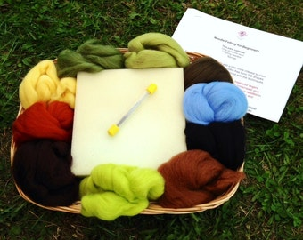 Needle Felting Kit Beginners Starter Pack Christmas Craft Gift Forest Greens and Browns
