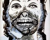 ZOMBIE Audrey Hepburn Peeling face - Original Ink Drawing 2014 INKtober Drawing #3