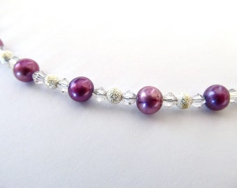 Pinkish purple freshwater pearl necklace