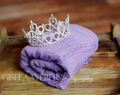 Lilac Baby Wrap Set, Crown Baby Wrap Set, Baby Girl Photo Props, Newborn Photo Prop, Silver Baby Crown, Baby Girl Wrap Set, Baby Girl Props