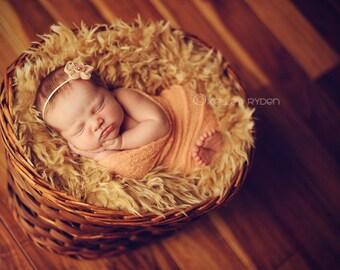 Peach Baby Wrap, Peach Newborn Wrap, Baby Girl Photo Prop, Peach Knit Wrap, Baby Photo Prop, Peach Newborn Girl Wrap, Newborn Scarf Wrap
