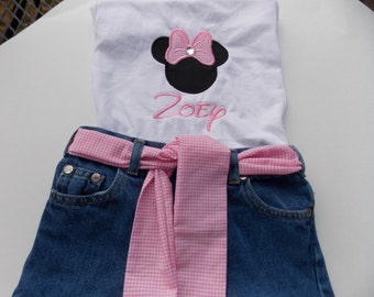 Personalized ruffled skirt Birthday outfit Birthday outfit ruffled jean skirt and appliqué shirt # 1-9 Boutique style Set