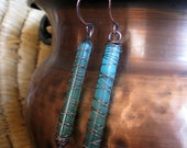 Wire Wrapped Earrings Copper and Blue Green Satin Glass Jewelry