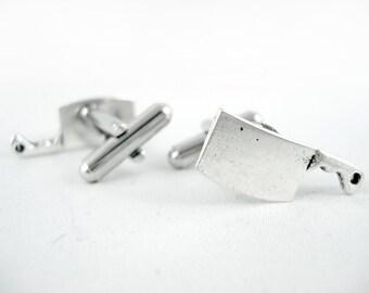 Silver Cleavers - Knife Cufflinks Chef Cufflinks Cleaver Cufflinks Cook Cuffliks Chef Gift Goth Cufflinks Kitchen Cufflinks