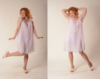 Vintage 1960s Lilac Babydoll Nightgown - Nightie Bridal Boudoir - Lingerie Fashions Size Large