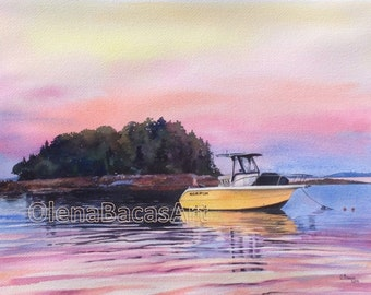 "Boat Painting, CUSTOM WATERCOLOR Portrait 9""x12"" -Anniversary Gift-Birthday Gift-Gift for Father-Gift for Men-Gift for boyfriend-Gift ideas"